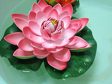 Amazon usongs 17cm pink water floating pvc foam artificial usongs 17cm pink water floating pvc foam artificial lotus flower real looking smooth touch mightylinksfo