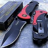 "Tac-force Extra Large Red 10.5"" Folding Blade Spring Assisted Open Pocket Knife"