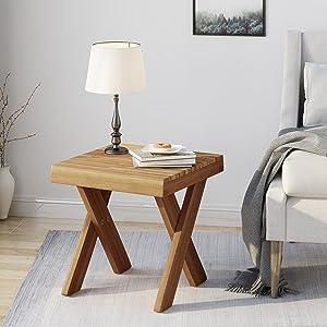 Christopher Knight Home 304424 Estelle Indoor Farmhouse Acacia Wood Side Table, Sandblast Teak Finish