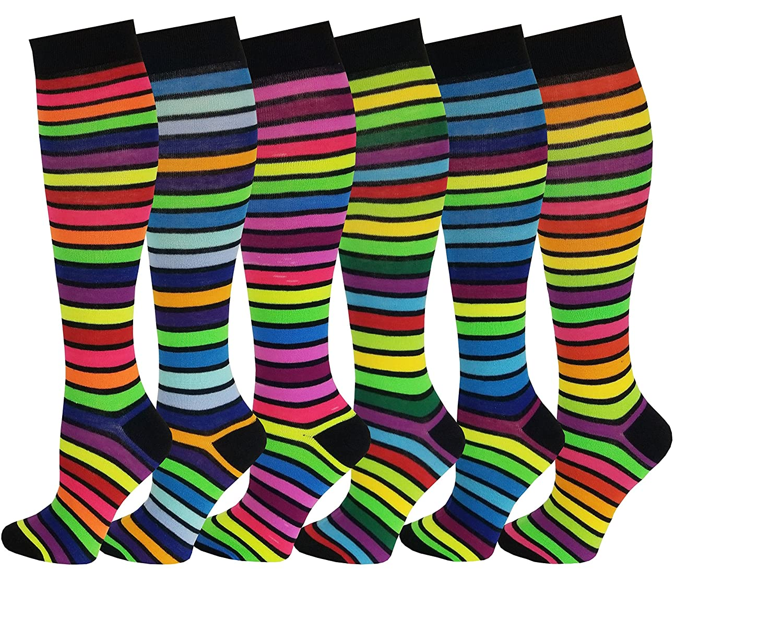 6 Pairs Women's Fancy Design Multi Colorful Patterned Knee High Socks Argyle