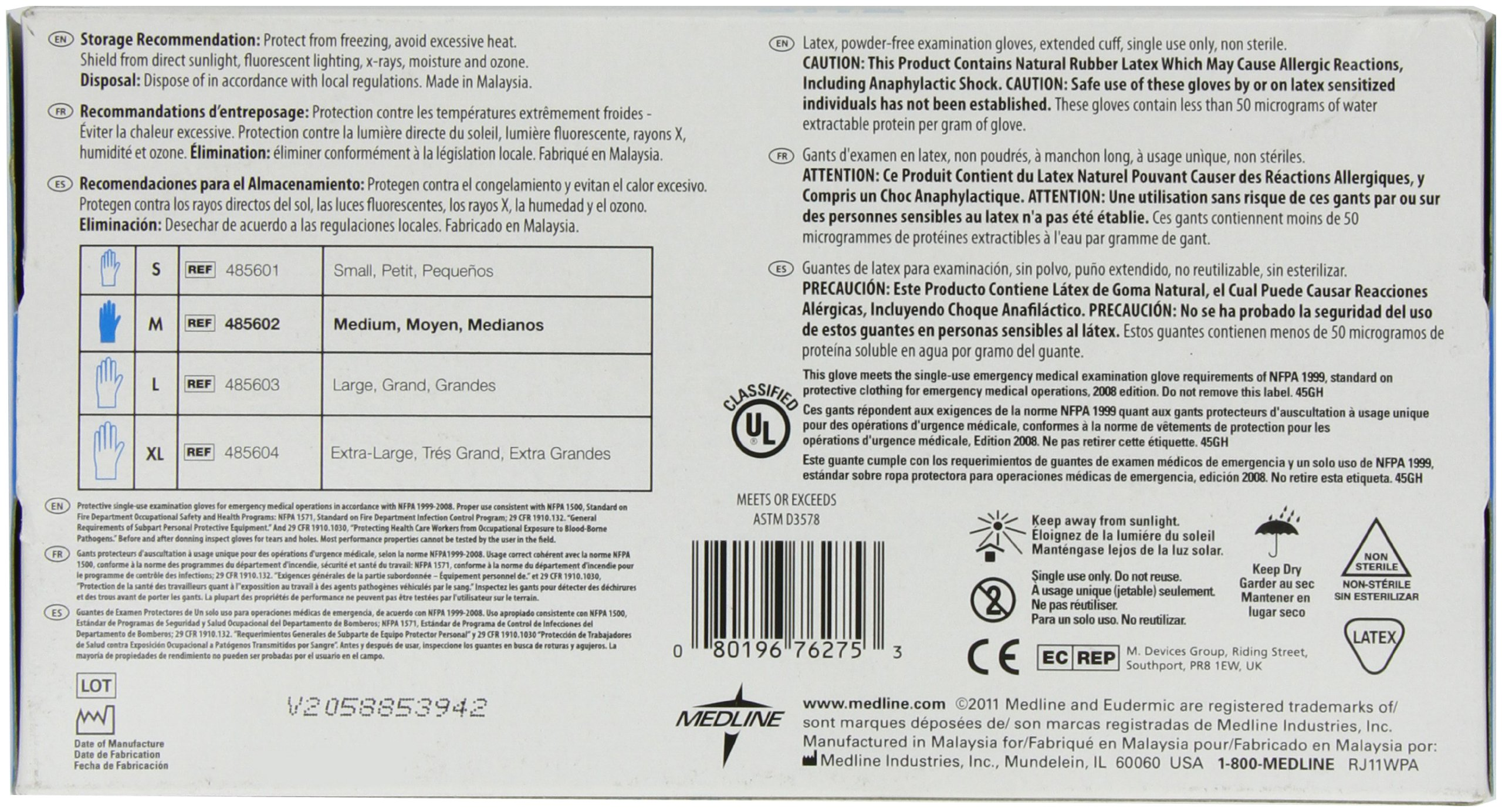Medline Eudermic MP 12 Inches High Risk Exam Gloves, Medium, 50 Count by Medline (Image #2)