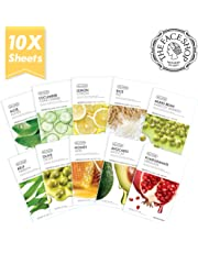 The Face Shop Real Nature Facial Mask Sheet (10 Count) - NEW 2017 Version (Aloe, Cucumber, Lemon, Rice, Mung Bean, Kelp, Olive Oil, Honey, Avocado, Pomegranate)