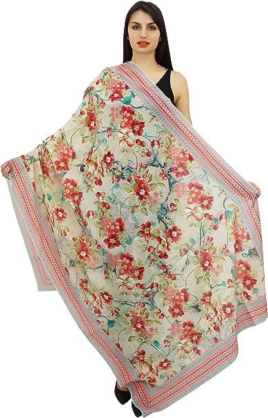 TALLA 40 x 72 pulgadas (viscosa gasa). Phagun floral Mujeres largo de la estola del cuello del abrigo de verano Sarong Hijab bufanda-40x72 pulgadas