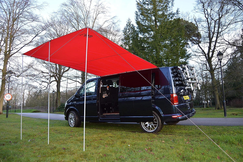 Wild Earth Sun canopy awning for VW van, Camper Van, motorhome or caravan 240cm x 300cm RED