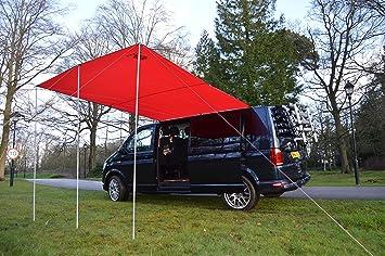 Wild Earth Toldo parasol para furgoneta, autocaravana o caravana, 240 x 300 cm, color rojo