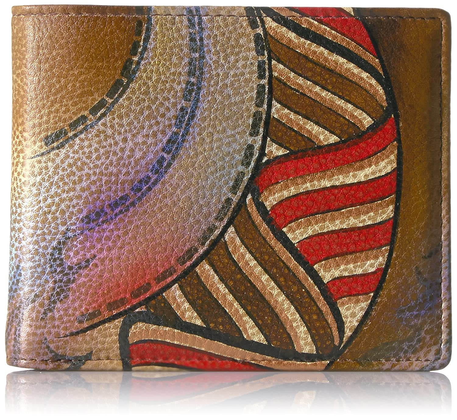 Anuschka Womens Handpainted Leather RFID Blocking Two Fold Mens Wallet,Desert Safari
