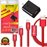 Quick Charge 3.0 Fast AU Wall Charger SAA Approved CE FCC ROHS Certified plus Premium Long Lasting 3 in 1 Fast Charging and Data Transfer Braided 1M Cable Compatible with iPhone Windows Android Phones