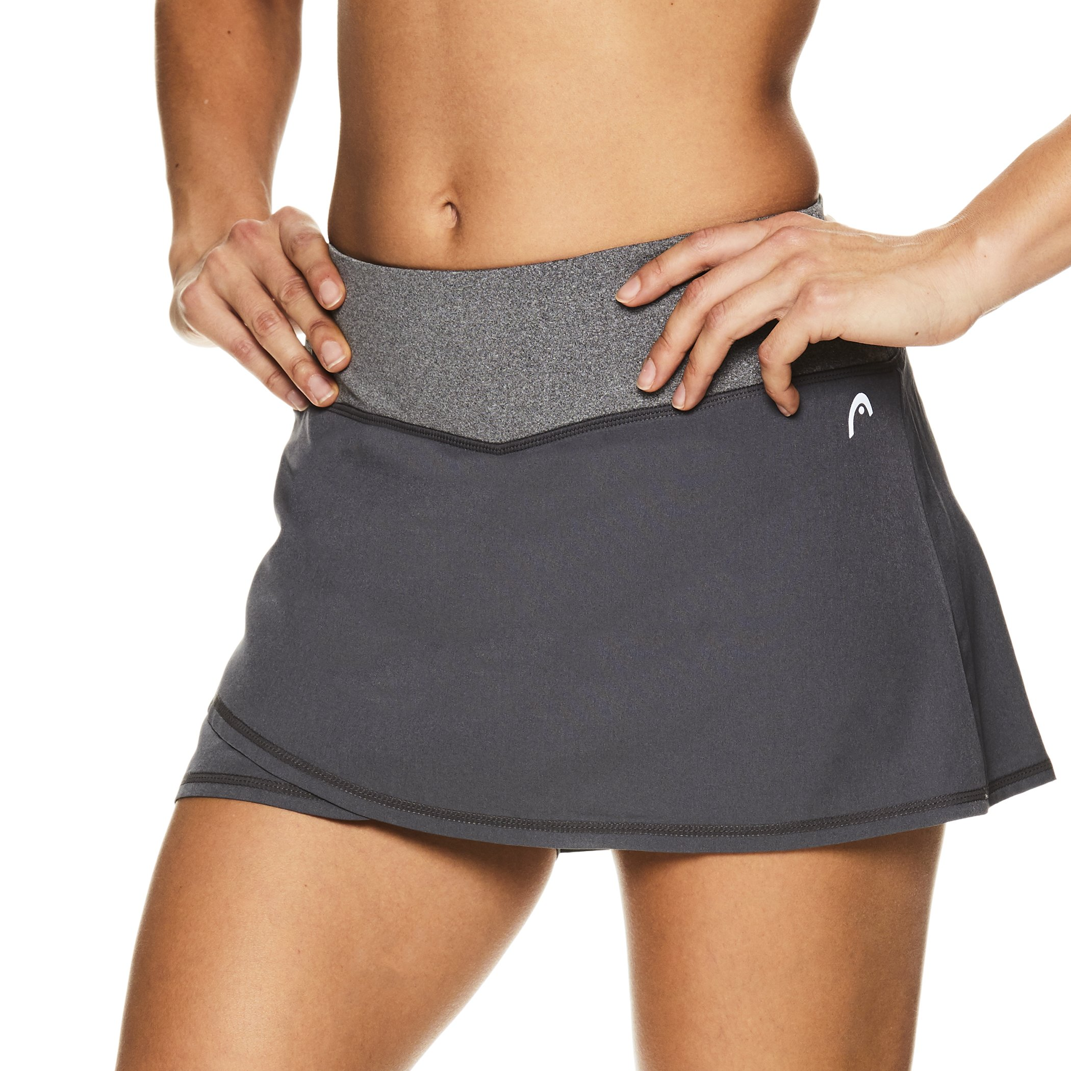 HEAD Women's Athletic Tennis Skort - Performance Training & Running Skirt - Medium Grey Rally, Large