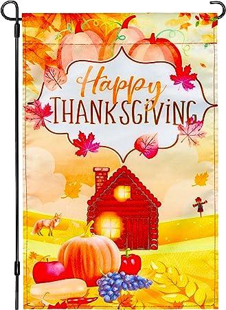 Amazon Com Thanksgiving Garden Flag Outdoor 12 X 18 Double