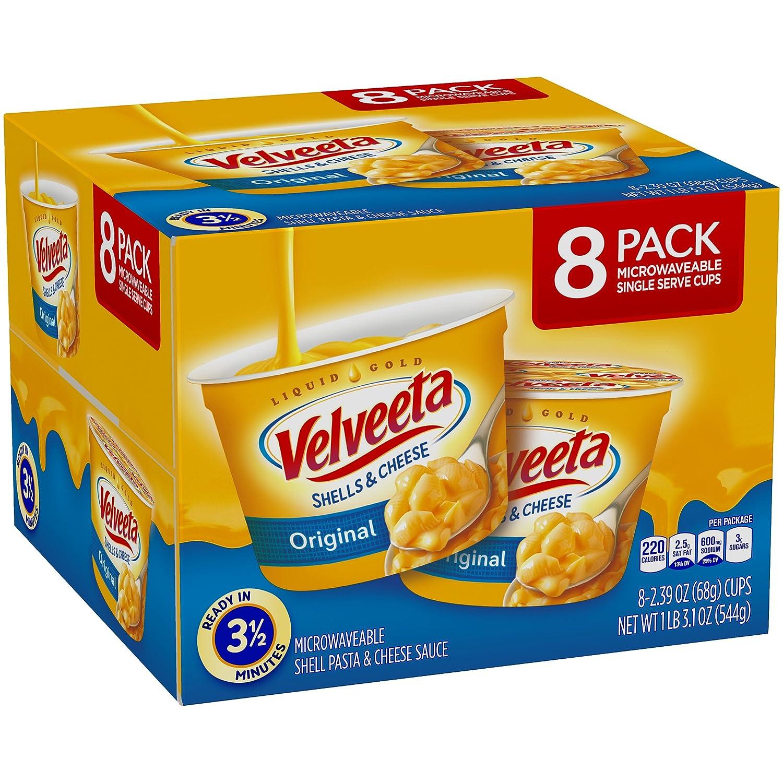 Velveeta Original Shells & Cheese Microwaveable Cups (2.39oz Cups, Pack of 8)