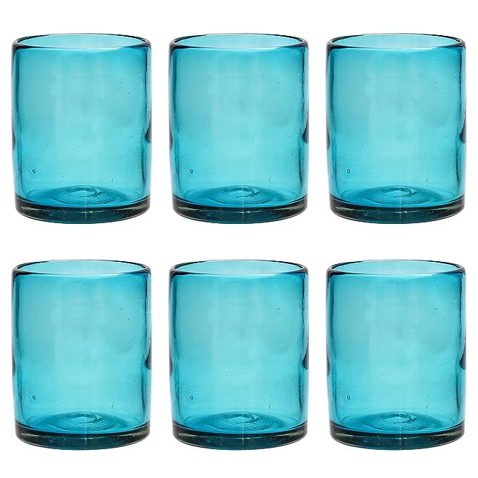 Vaso Tumbler Artesanal - Vidrio Reciclado - Turquesa - Juego de 2: Amazon.es: Hogar