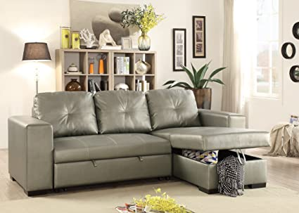 Living Room Bobkona Convertible Sectional Sofa Faux Leather Tufted Sofa W Pull  Out Bed Reversible Chaise
