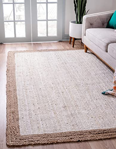Unique Loom Braided Jute Collection Hand Woven Natural Fibers Ivory Area Rug 5 0 x 8 0