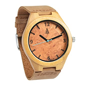 dfcf4e79b0 Image Unavailable. Image not available for. Color  Treehut Mens Wooden  Maple Burl Bamboo Watch ...