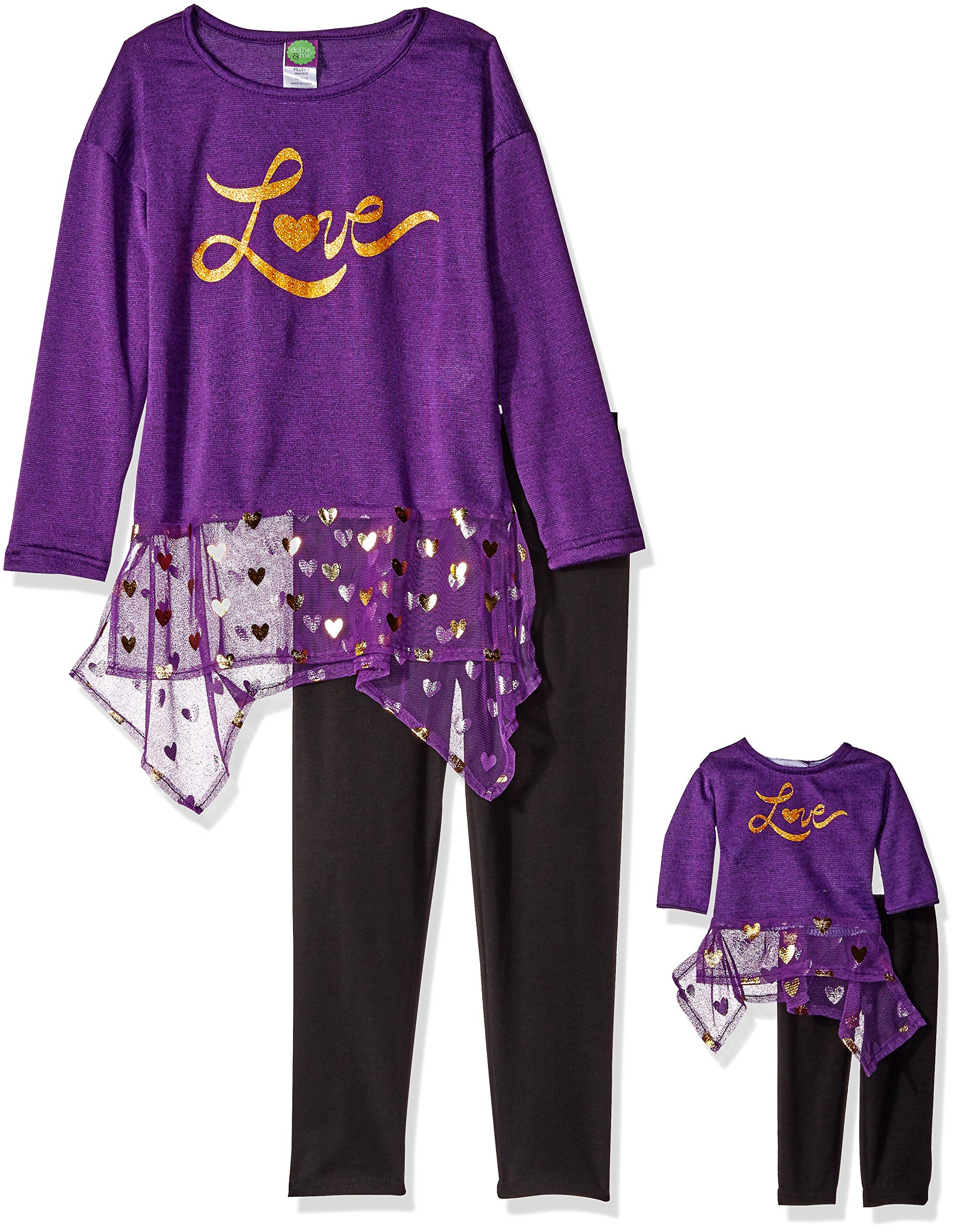 Dollie & Me Little Girls' Sweater Knit and Chiffon Love Dress with Legging, Purple/Black, 4