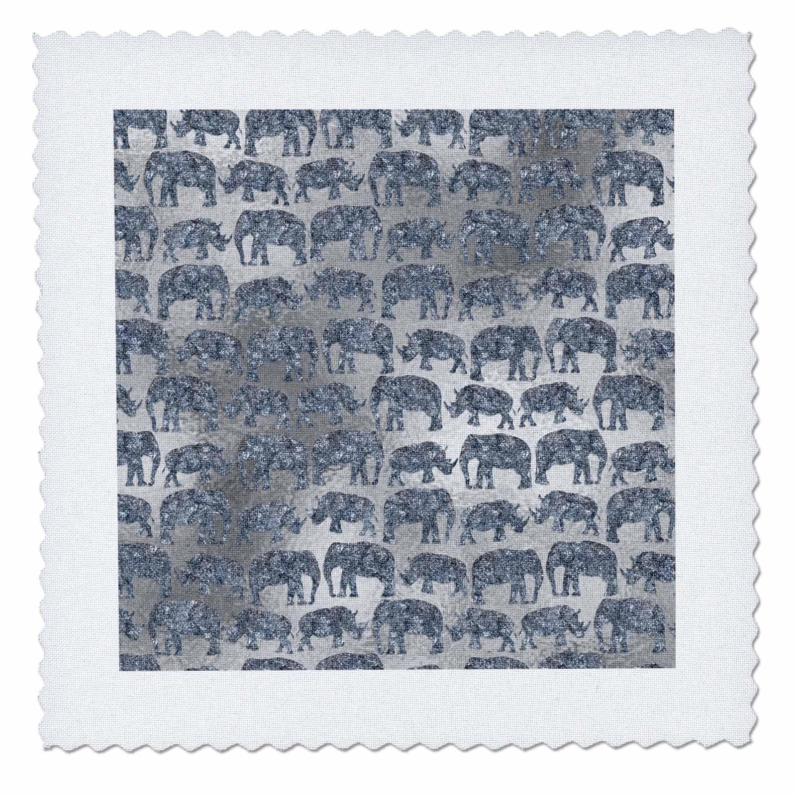 3dRose Uta Naumann Faux Glitter Pattern - Luxury Silver Shiny Chic Animal Elephant Africa Safari Pattern - 12x12 inch quilt square (qs_269042_4)