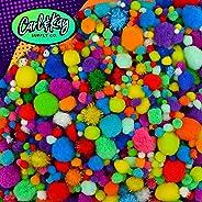 Carl & Kay [2200 pcs] Mega Assorted Size Pom Poms Craft Kit | Craft Pom Poms Assorted Sizes Bulk | Jumbo Pom Poms | Big Pomp