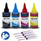 400 ml of INKUTEN UV Resistant Refill Ink for HP HP 21 HP 22 HP 27 HP 28 HP 56 HP 57 HP 60 HP 61 HP 74 HP 75 HP 62 HP 93 HP 94 HP 95 HP 97 HP 98 and MORE HP Black and Tri-color cartridges - 4 Packs