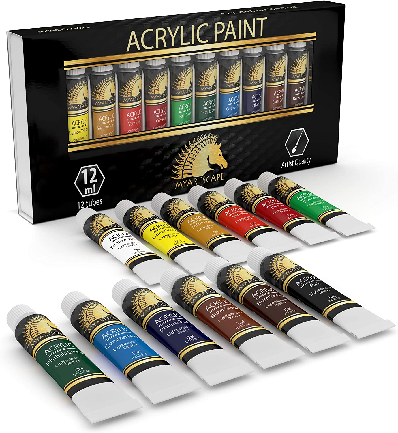 Amazon Com Acrylic Paint Set Artist Quality Paints For Painting Canvas Wood Clay Fabric Nail Art Ceramic Crafts 12 X 12ml Heavy Body Colors Rich Pigments Professional Supplies