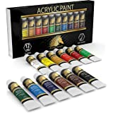 Acrylic Paint Set - Artist Quality Paints for Painting Canvas Wood Clay Fabric Nail Art Ceramic & Crafts - 12 x 12ml Heavy Body Colors - Rich Pigments - Professional Supplies by MyArtscape