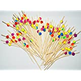 """ReaLegend 4.7"""" Cocktail Sticks Party Frilled Toothpicks, Sandwich, Appetizer, Cocktail Picks Party Supplies Plates Picks 100 Count - Gorgeous Peach"""