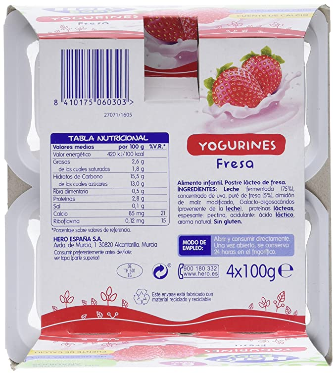 Hero Baby Yogurines Fresa - Paquete de 4 x 100 gr - Total: 400 gr - , Pack de 6: Amazon.es: Alimentación y bebidas
