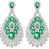 MARENJA-Mother's Day Gift Women's Fashion Earrings-Vintage Green Pave Setting Crystal-White Gold Plated Crystal Jewellery