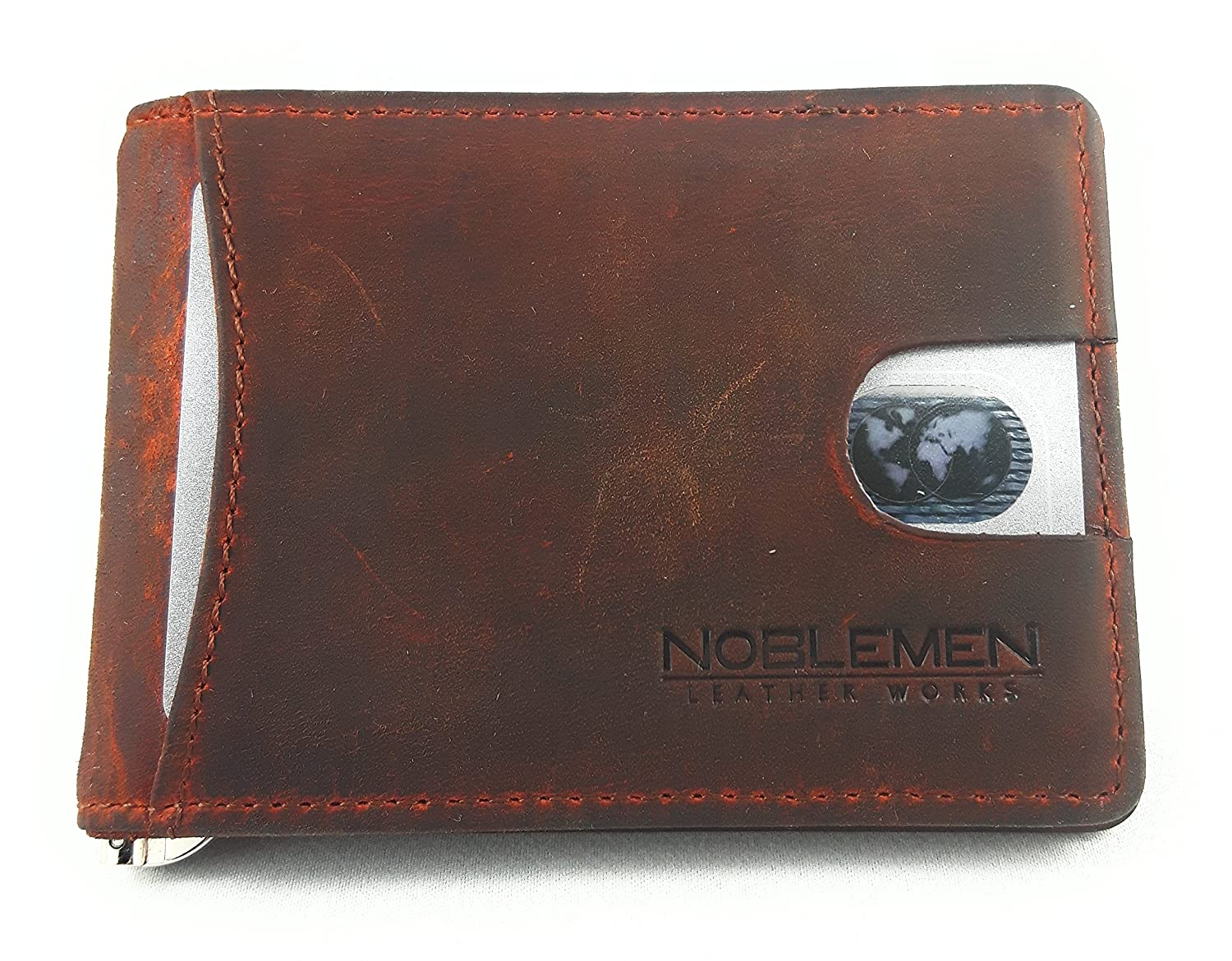 Noblemen Mens Leather Money Clip Minimalist Wallet | RFID Protection | ID Card Window