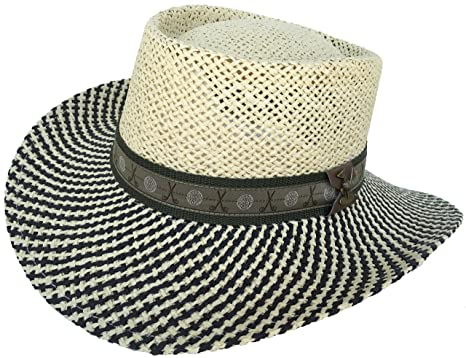 Amazon.com  Paper Straw Gambler Wide Brim 2 Tone Golf Hat (Natural ... 394685b8ddd