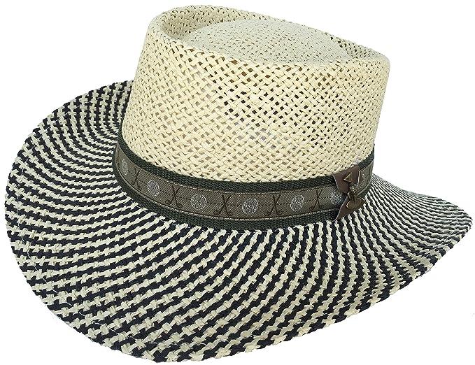 Amazon.com  Paper Straw Gambler Wide Brim 2 Tone Golf Hat (Natural ... e7064a8078db