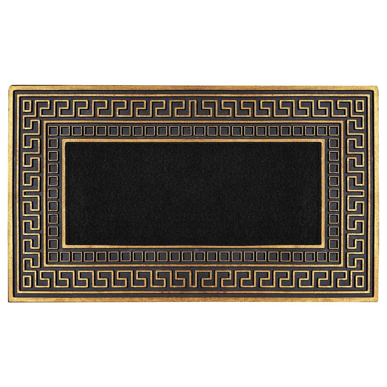 FHグループインドアアウトドアマットラグドアマット – Rubber Utility Mat Mudsのペット犬靴またはホーム ブラック DM014-AMZ B073WDVBV7 Black with golden trim and Black-DM014 Black with golden trim and Black-DM014