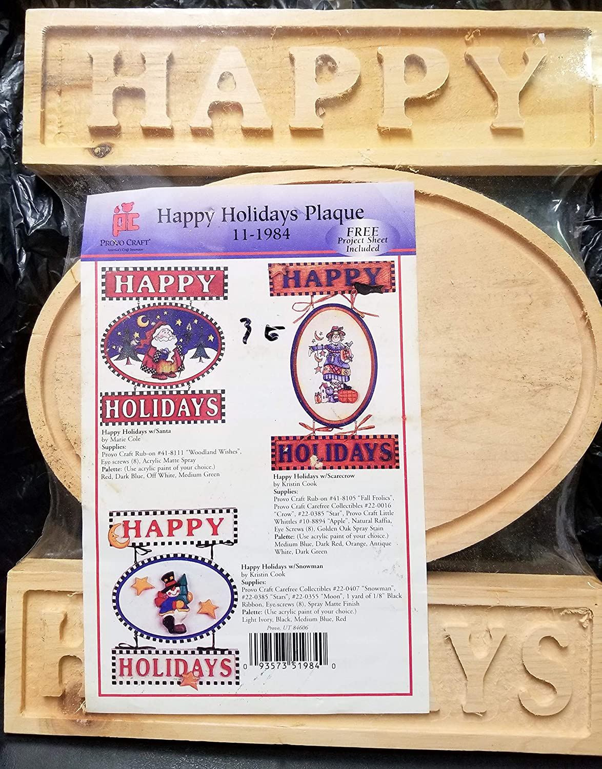 DreamPartyWorld Happy Holiday Plaque Wood Craft Kit DYI Christmas Decoration 3PCS Provo Craft