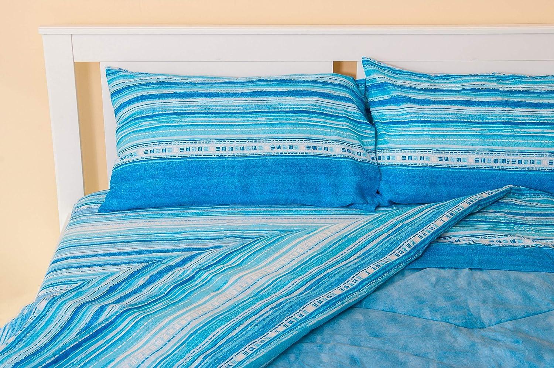 Lenzuola Matrimoniali Azzurre.Lenzuolo Sopra Righe Azzurre Parure 4 Pezzi Lenzuolo Sotto Con