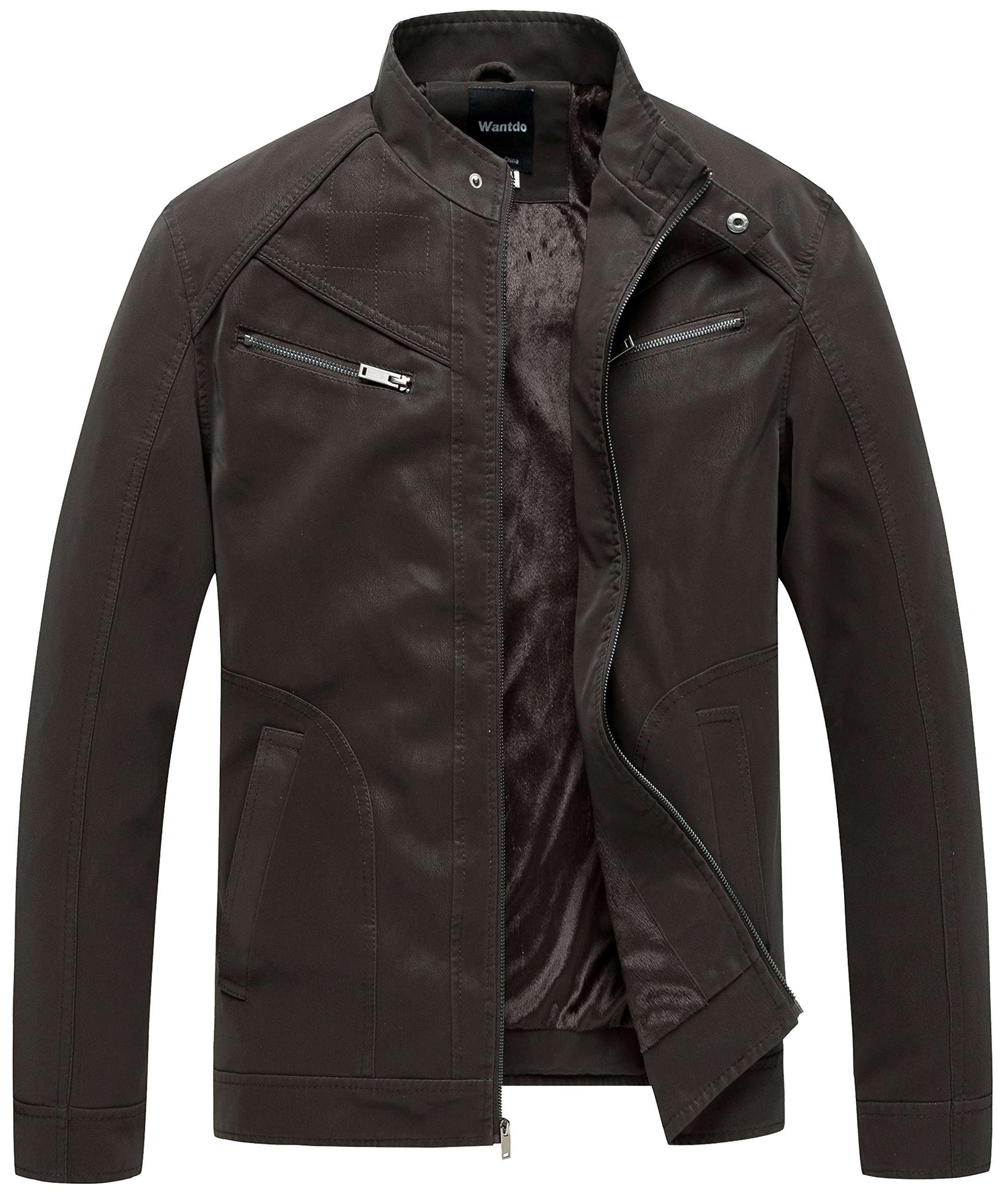 Wantdo Men's Faux Leather Jacket Biker PU Outwear US Large Coffee