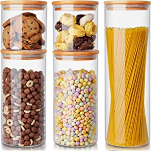 AIKWI Glass Food Storage Jars Set of 5,Airtight Glass Kitchen Canisters with Bamboo Lids,Clear Glass Canister Food Jar with Sealing Lid Kitchen Pantry Storage Container for Spaghetti, Beans, Cereal, Snacks and More