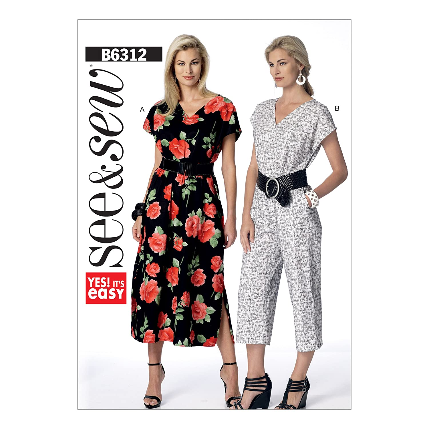 d64dcd2a5c Butterick Pattern 6312 A Misses Dress and Jumpsuit Sewing Pattern, Sizes  X-Small - 2X-Large: Amazon.co.uk: Kitchen & Home