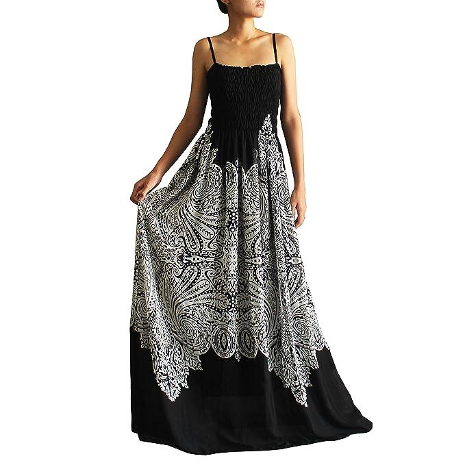 Women Maxi Plus Size Beach Summer Evening Party Lined Black White Dress B&W  Boho