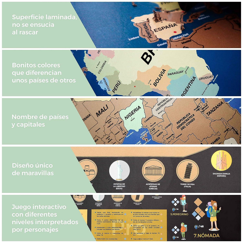 Mapa Mundi Rascar en Español de 84 x 58cm con Juego Interactivo de Puntos y Retos y 7 Niveles Diferentes | Mapa Rascar con Utensilios de Rayado, ...