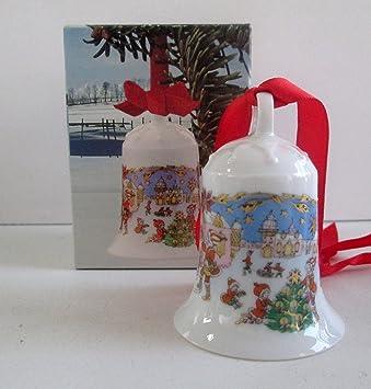HUTSCHENREUTHER Porzellan Weihnachtsglocke 1987 Kleinstadt mit OVP