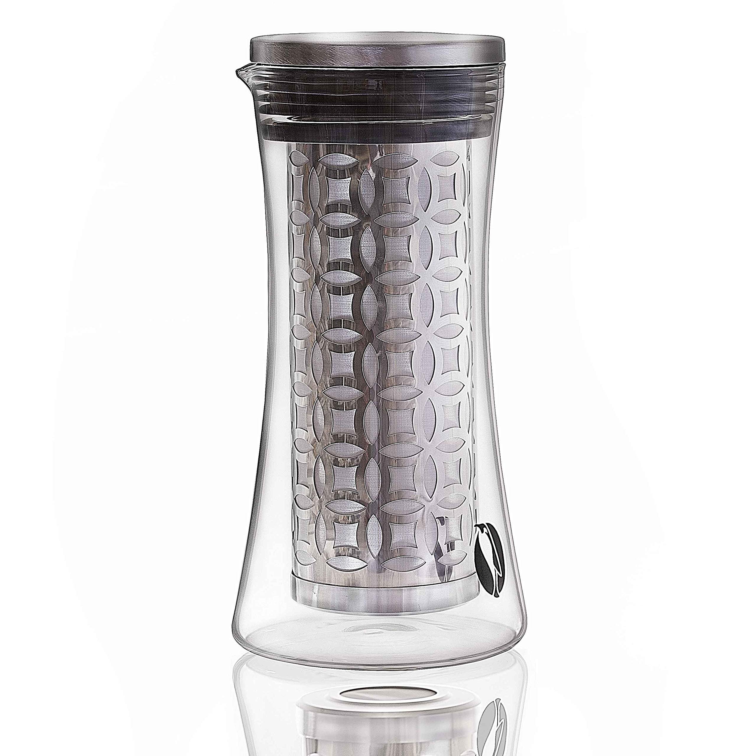 PENGUIN COFFEE- Cold Brew Iced Coffee Maker 1.2 Liter- Customers Spoke, We Listened. Version 2.0 Now Available! Thicker, Stronger Glass Pitcher. Dual Layer Stainless Steel Filter w Microscopic Holes by Penguin Coffee