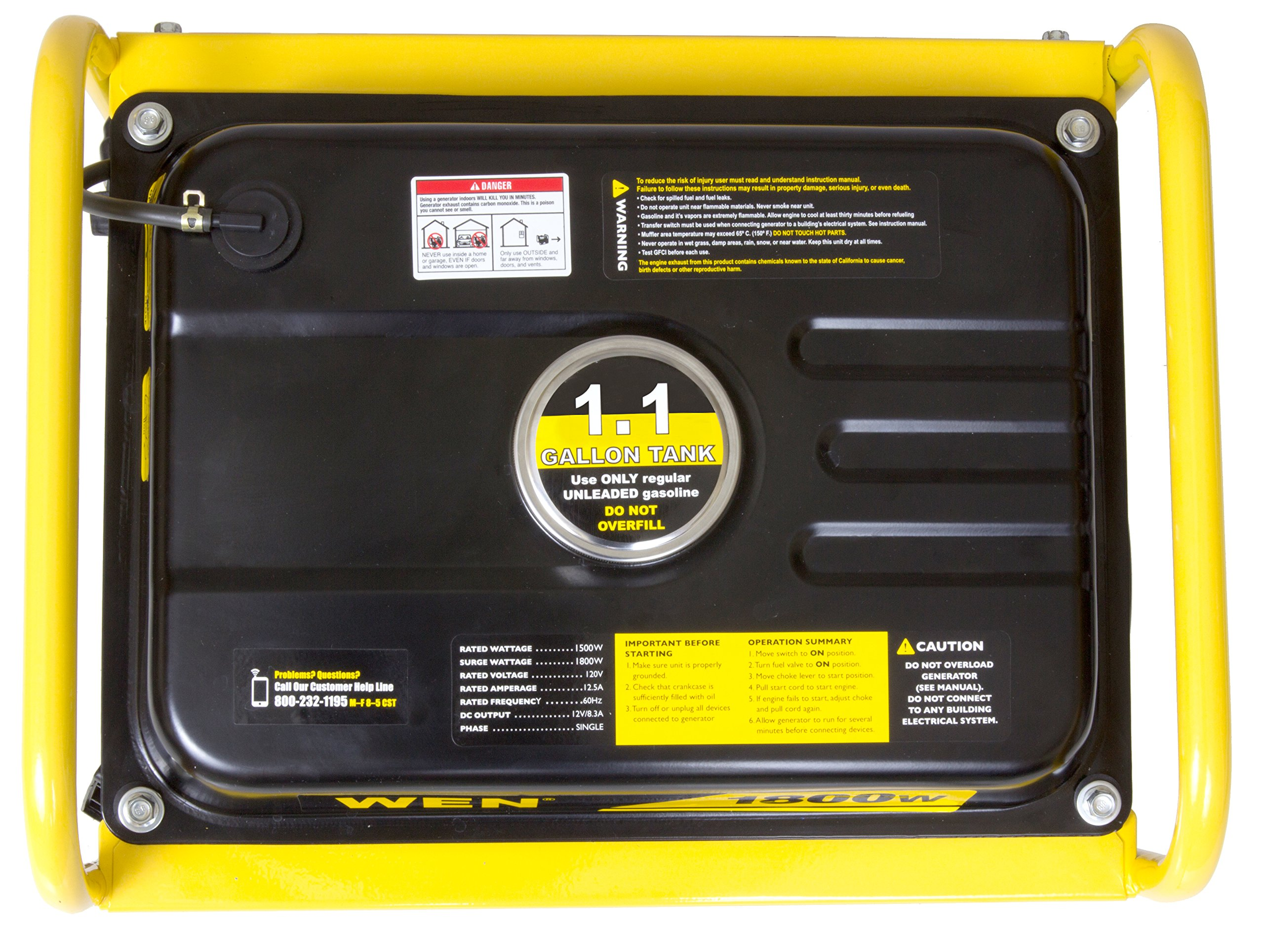 WEN 56180, 1500 Running Watts/1800 Starting Watts, Gas Powered Portable Generator, CARB Compliant by WEN (Image #5)
