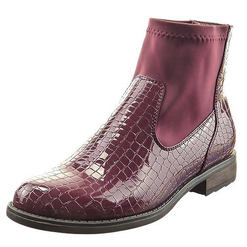 Sopily - Zapatillas de Moda Botines cavalier flexible A medio muslo mujer piel de serpiente patentes