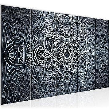 Bilder Mandala Abstrakt Wandbild 200 x 80 cm Vlies - Leinwand Bild XXL  Format Wandbilder Wohnzimmer Wohnung Deko Kunstdrucke Blau 5 Teilig - Made  IN ...