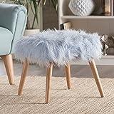 Amazon Com Linon Flokati Foot Stool 16 Inch White