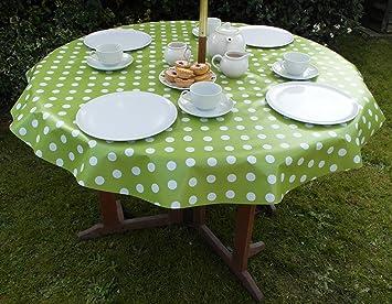 55u0026quot; (1.4M) ROUND PVC/VINYL TABLECLOTH   LIME GREEN POLKA DOT