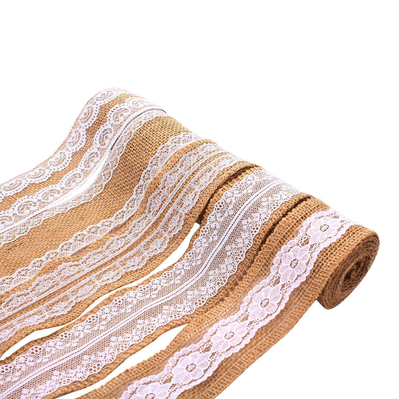 5 rotolo naturale della tela del mestiere del nastro del rullo con pizzo bianco festa di nozze fai da te decorazione di Natale, 5 cm x 2 m ogni rotolo moinkerin