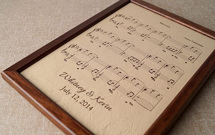 Leather Engraved Music Sheet Personalized Framed Notes 3rd Wedding Anniversary Gift