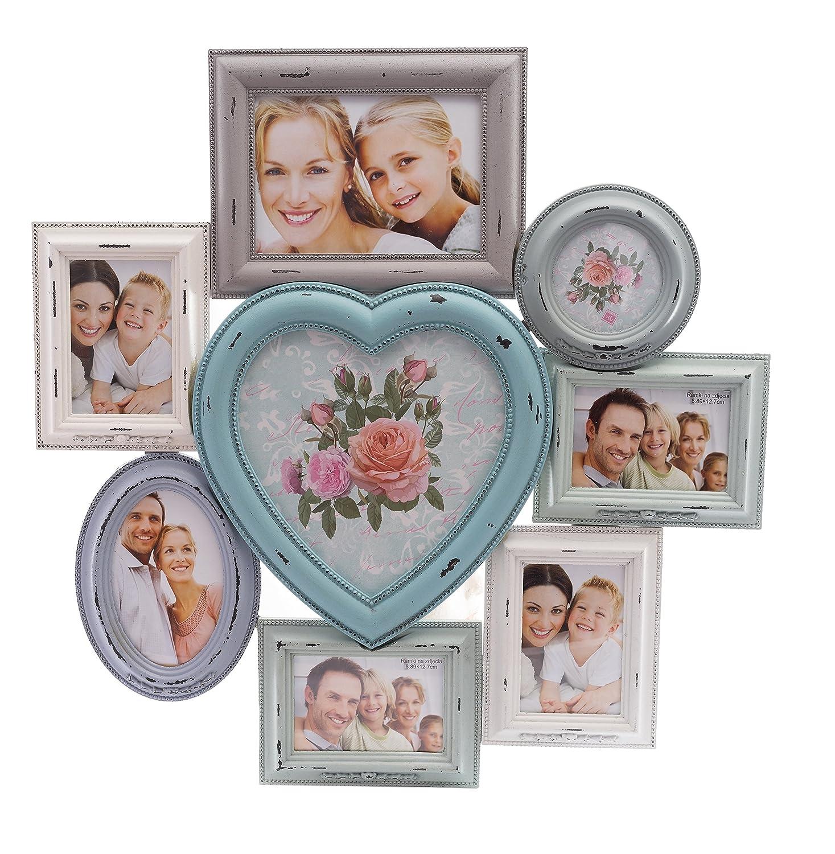8 marco de fotos Collage Grande en Shabby Chic perfecto Multi marco de fotos de madera en color blanco, Cian, luz azul con forma de corazón - H55 x W54 x D2 ...