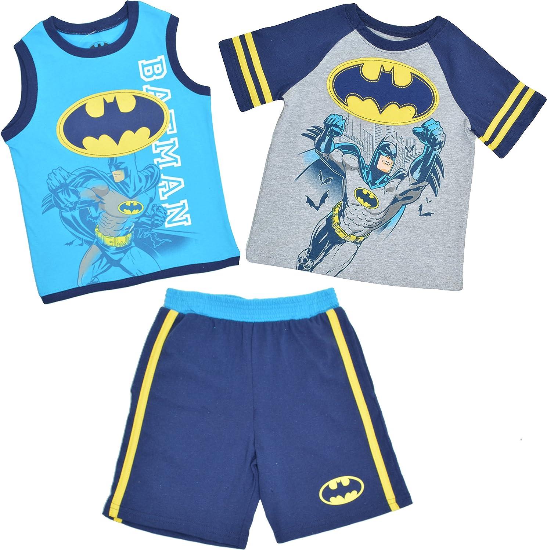Tank Top /& Shorts Set 12 Months 12M Blue Grey Batman Baby Boys 3 Piece Tee