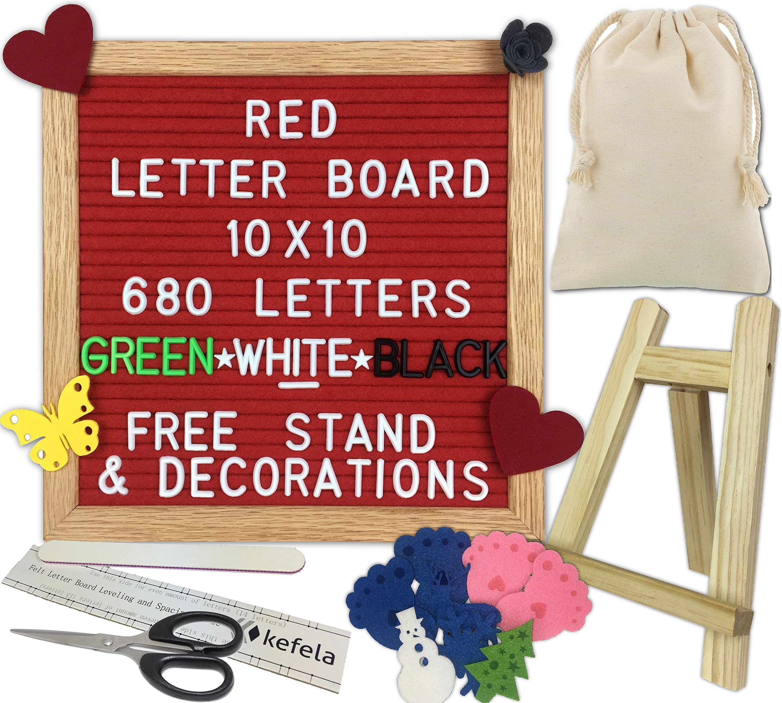 Red Felt Letter Board 10x10 - Stand, Decorations, Bag, Scissors, File, Guide - Vintage Oak Frame & 680 Changeable Green White Black Letters - for Announcements, Gift, Photo Prop, Quotes, Toy, etc.